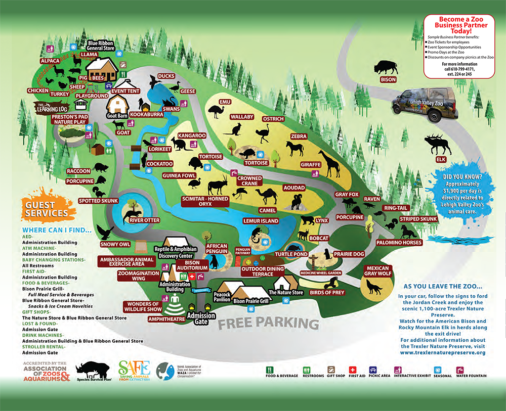 zoo map. zoo map  lehigh valley zoo