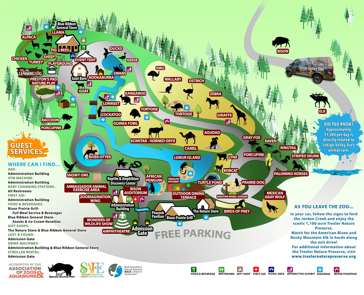 Zoo Map Lehigh Valley Zoo