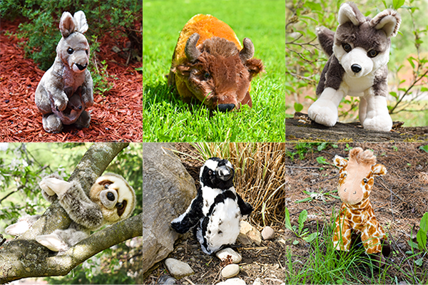 Photo of ADOPT An Animal plushies, including a red kangaroo, american bison, Mexican gray wolf, Linnaeus two-toed sloth, black footed African penguin, and masai giraffe.